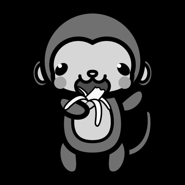 モノクロでかわいいバナナを食べる猿の無料イラスト・商用フリー