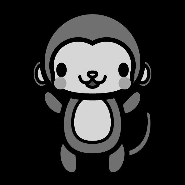 monkey_stand-monochrome