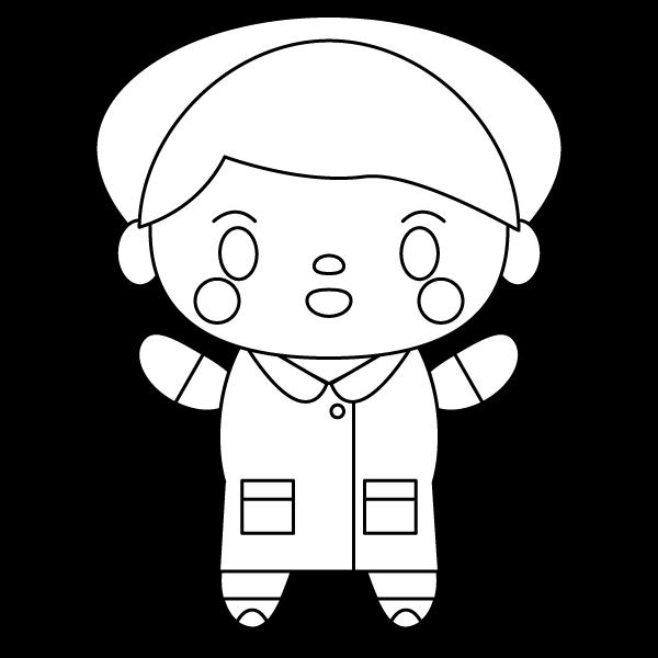 塗り絵に最適な白黒でかわいい看護師(看護婦)の無料イラスト・商用フリー