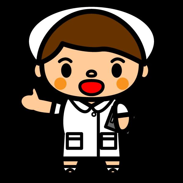 かわいい笑顔で出迎える看護師(看護婦)さんの無料イラスト・商用フリー