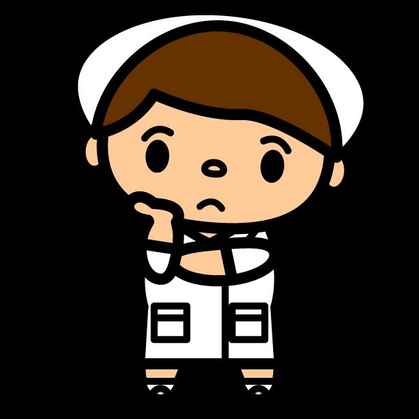 かわいい困った表情の看護師(看護婦)さんの無料イラスト・商用フリー