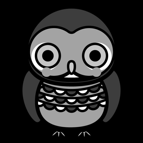 モノクロでかわいいフクロウの無料イラスト・商用フリー