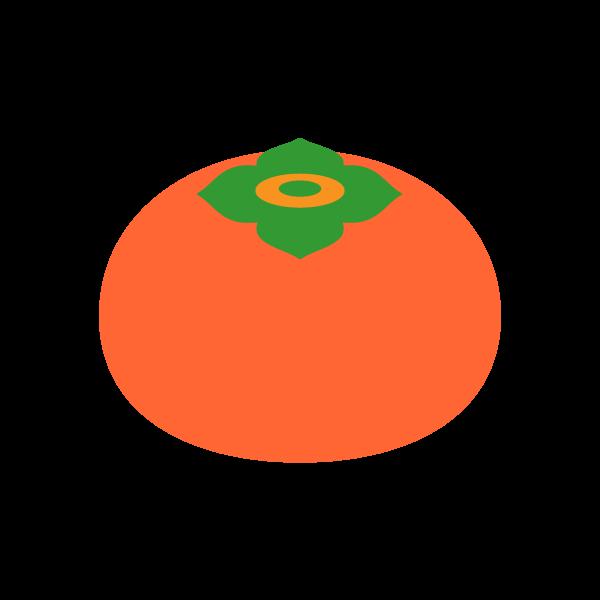 縁無しでかわいい柿の無料イラスト・商用フリー