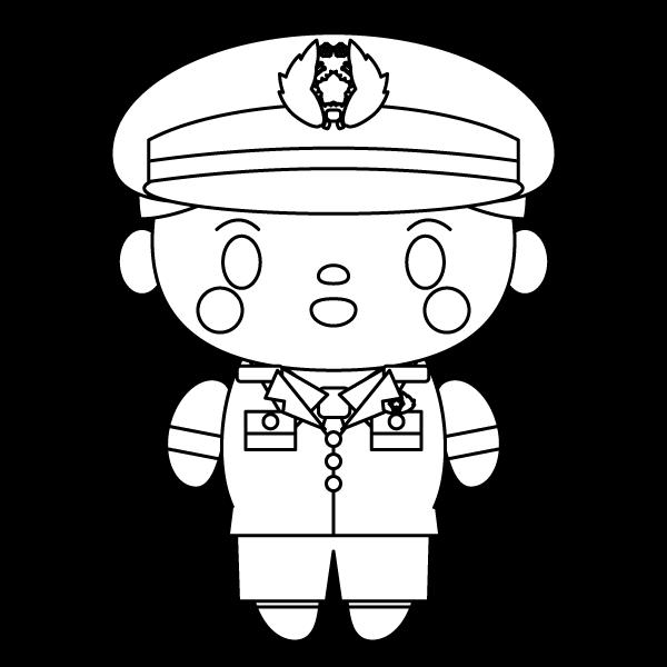 塗り絵に最適な白黒でかわいい警察官(おまわりさん)の無料イラスト・商用フリー