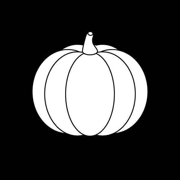塗り絵に最適な白黒でかわいいかぼちゃの無料イラスト・商用フリー