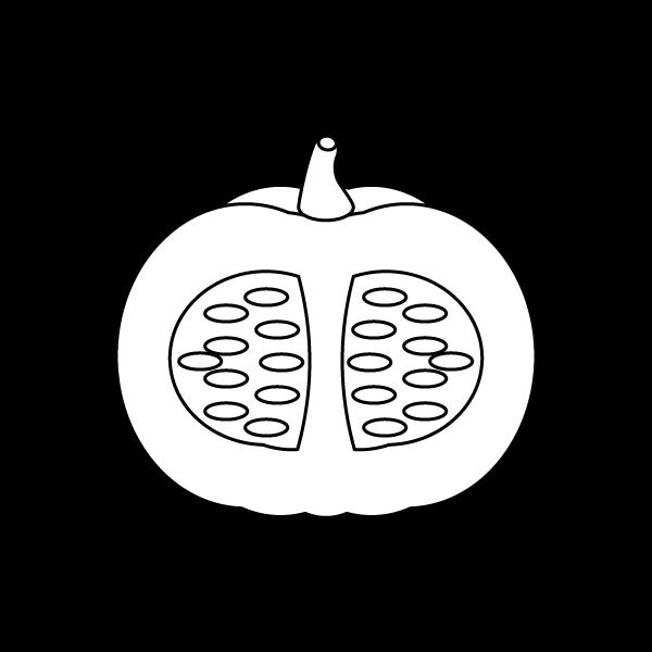 塗り絵に最適な白黒でかわいい半分に切ったかぼちゃの無料イラスト・商用フリー