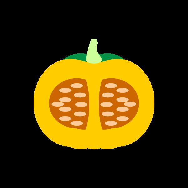 縁無しでかわいい半分に切ったかぼちゃの無料イラスト・商用フリー