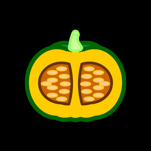 ソフトタッチでかわいい半分に切ったかぼちゃの無料イラスト・商用フリー