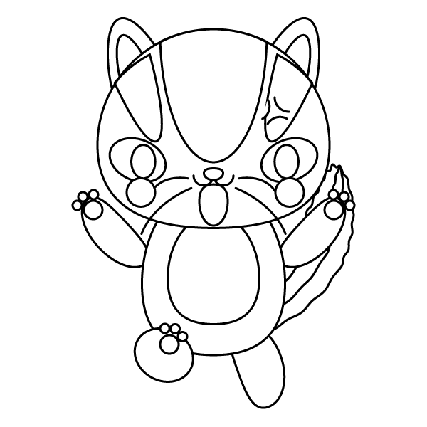 白黒で怒っている怒り顔の可愛いリス