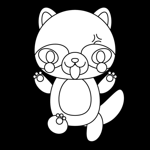 tanuki_angry-blackwhite