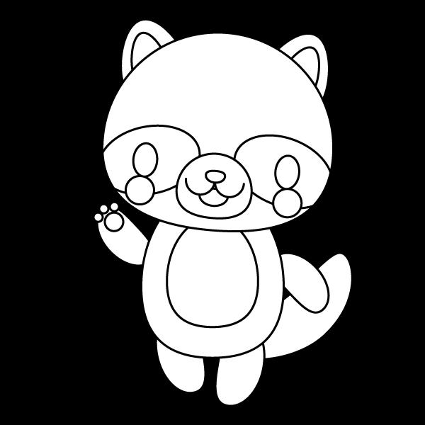 tanuki_enjoy-blackwhite