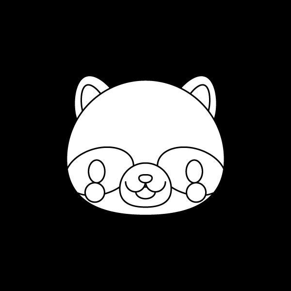 tanuki_face-blackwhite