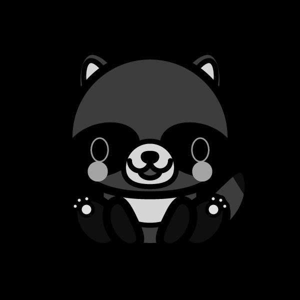 tanuki_sit-monochrome