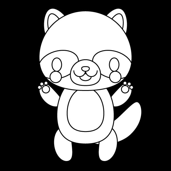 tanuki_stand-blackwhite