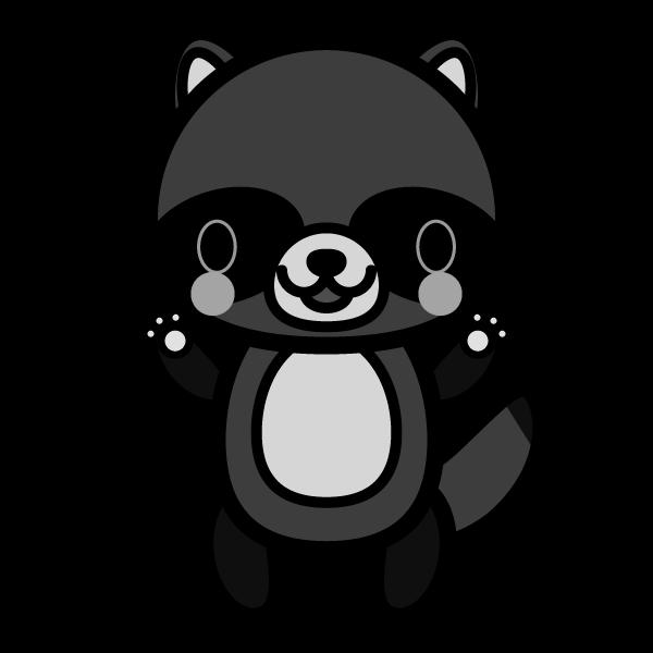 tanuki_stand-monochrome