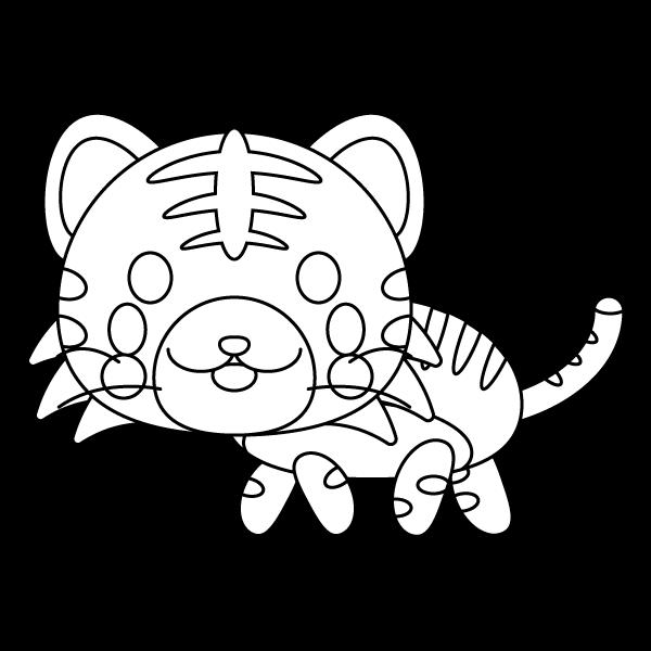 塗り絵に最適な白黒でかわいい虎の無料イラスト・商用フリー