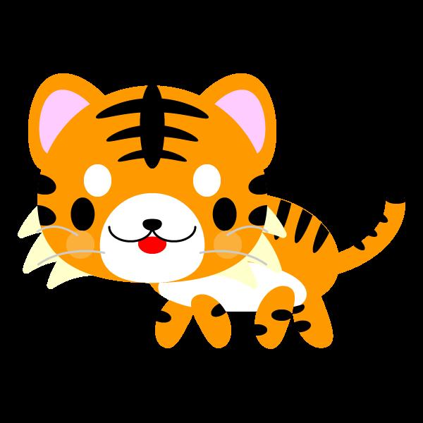縁無しでかわいい虎の無料イラスト・商用フリー