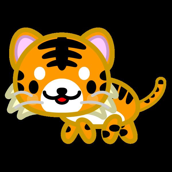 ソフトタッチでかわいい虎の無料イラスト・商用フリー