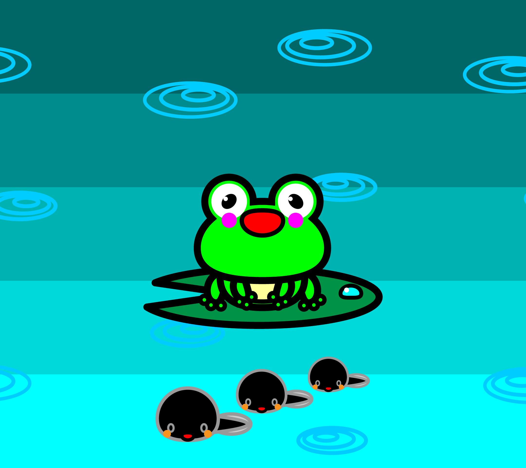 かわいいカエルとおたまじゃくし壁紙(Android)の無料イラスト・商用フリー