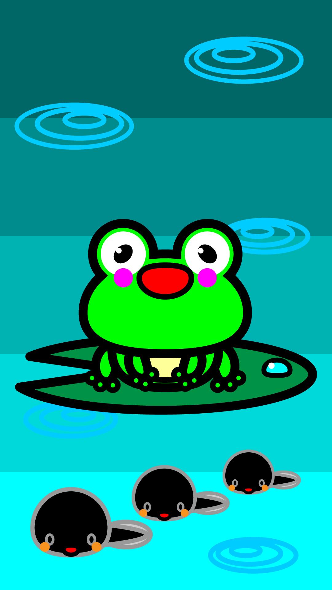 かわいいカエルとおたまじゃくし壁紙(iPhone)の無料イラスト・商用フリー