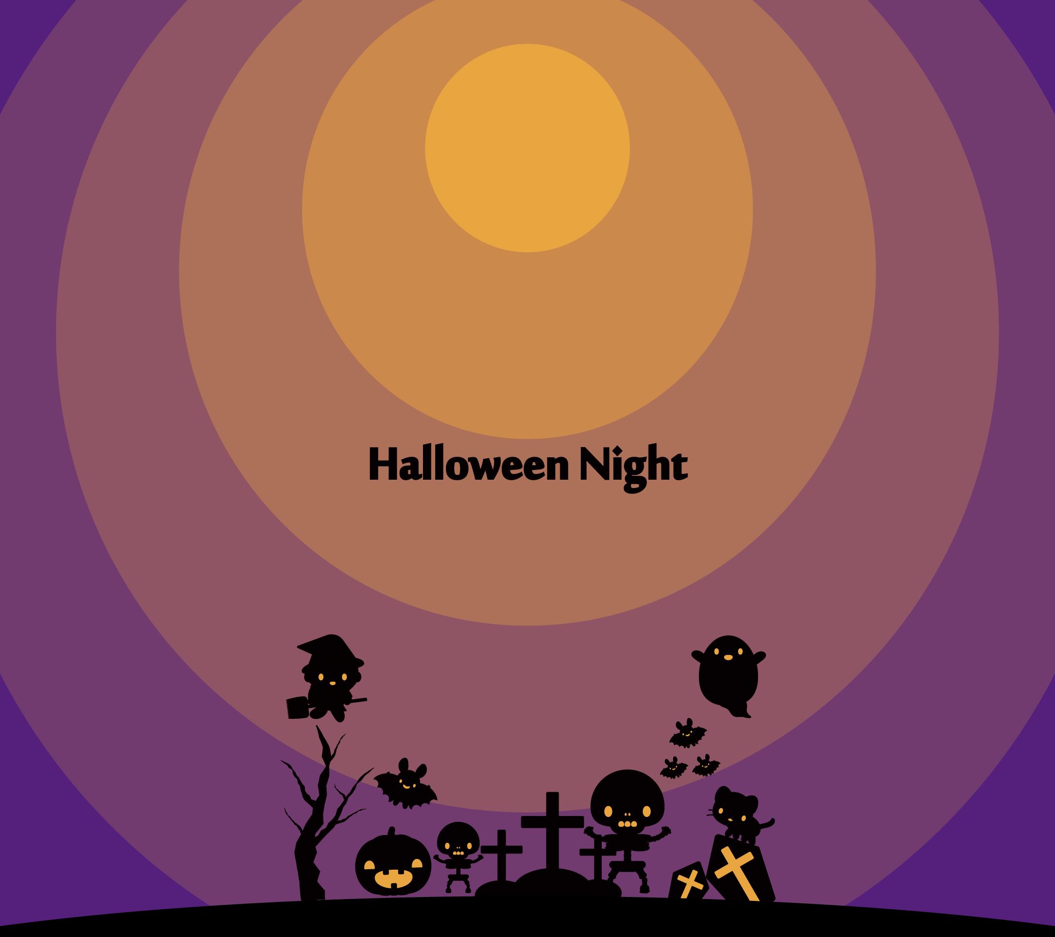 かわいいハロウィンナイト壁紙(Android)の無料イラスト・商用フリー