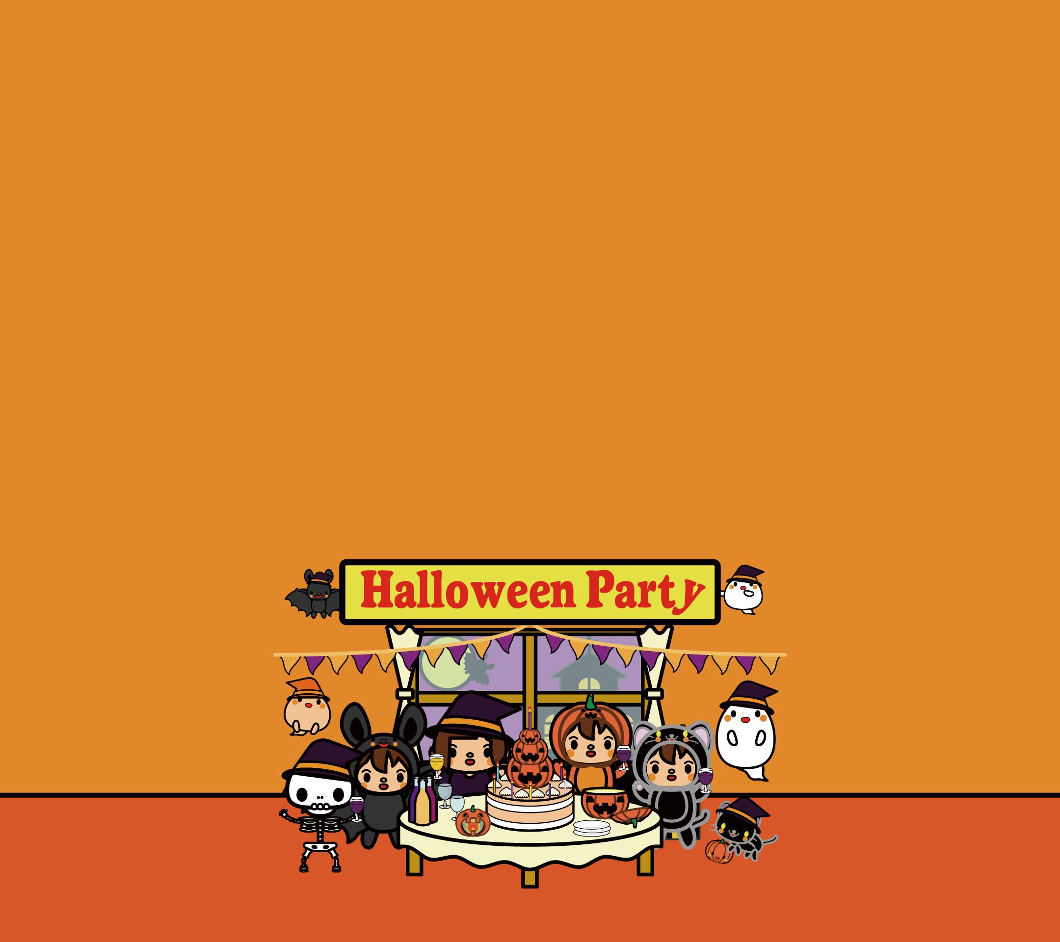かわいいハロウィンパーティー壁紙(Android)の無料イラスト・商用フリー