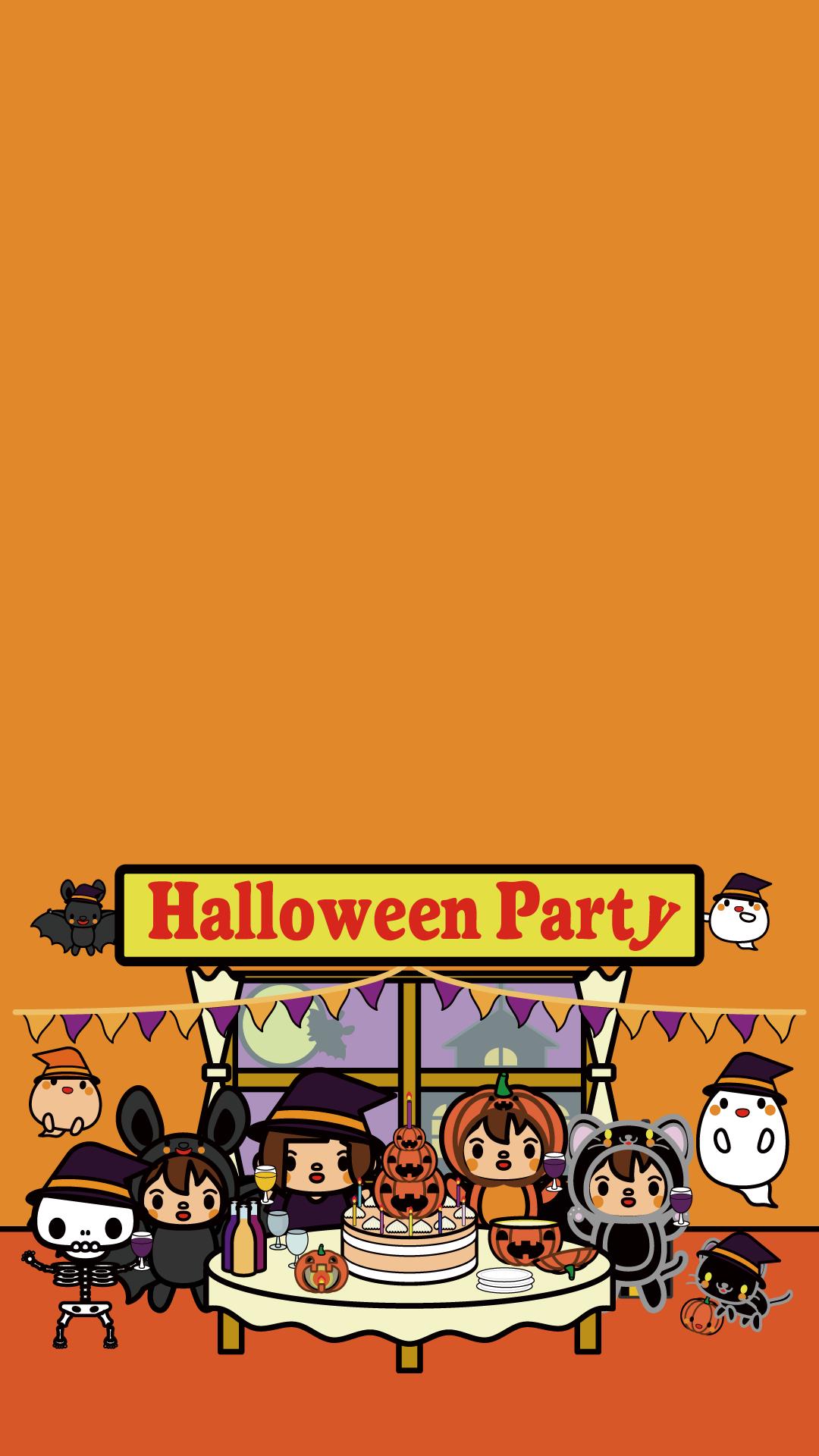 かわいいハロウィンパーティー壁紙(iPhone)の無料イラスト・商用フリー