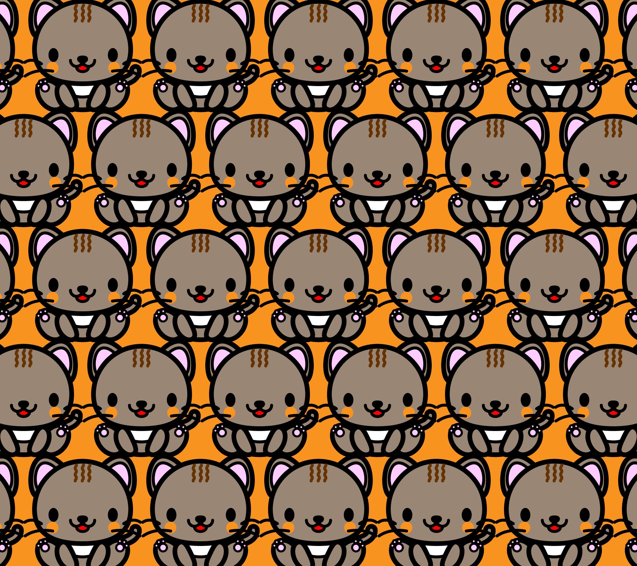かわいい座り猫づくし・壁紙(Android)の無料イラスト・商用フリー