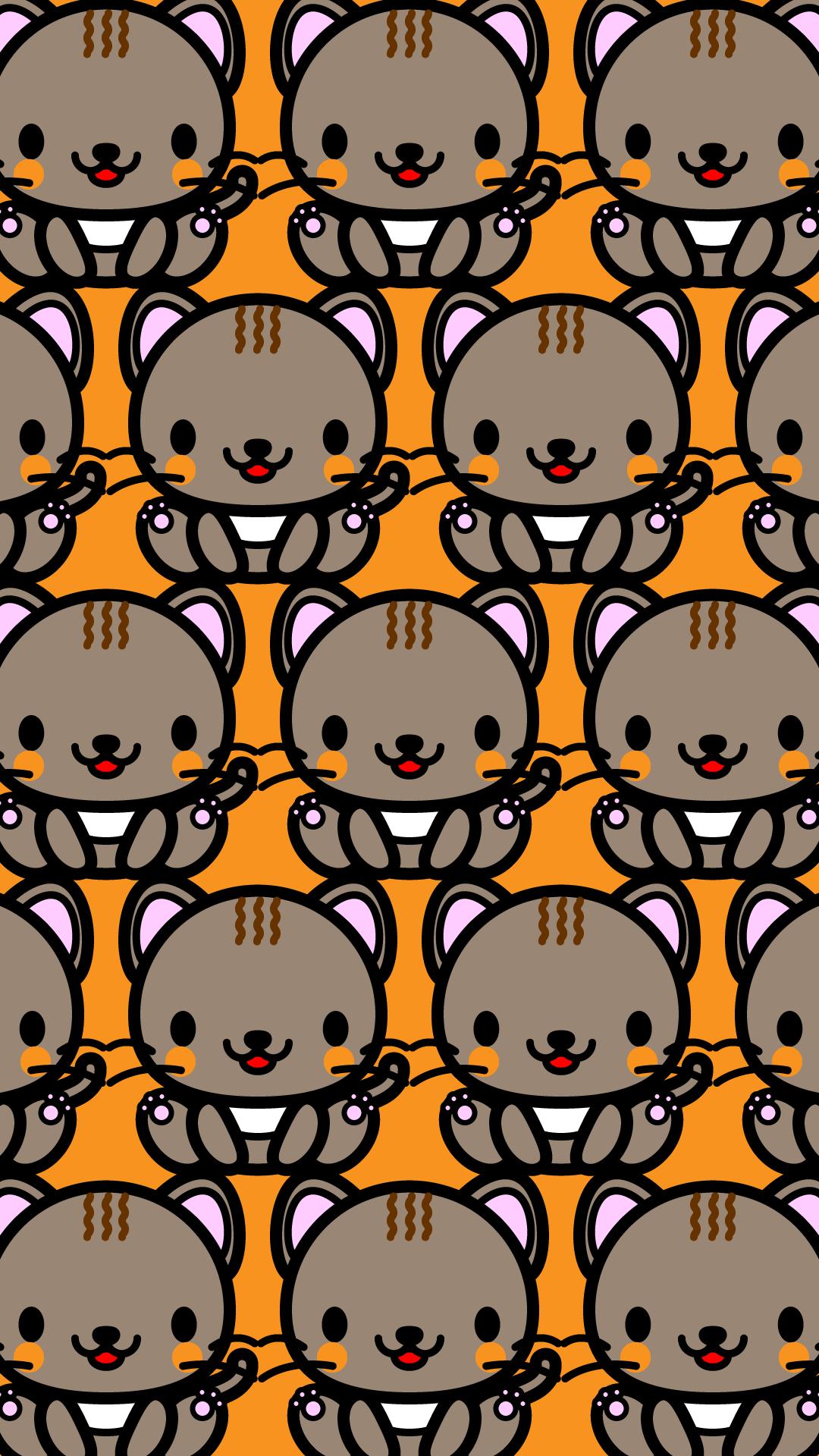 かわいい座り猫づくし・壁紙(iPhone)の無料イラスト・商用フリー