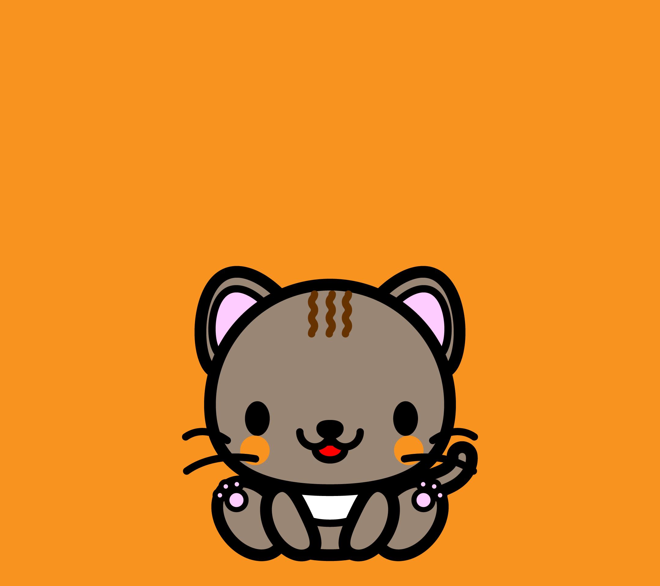 かわいい座り猫壁紙(Android)の無料イラスト・商用フリー