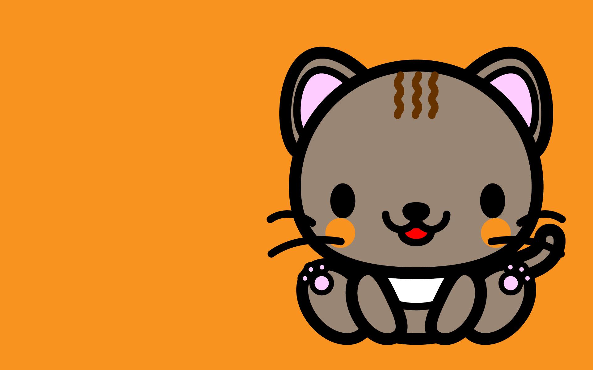 かわいい座り猫壁紙(PC)の無料イラスト・商用フリー