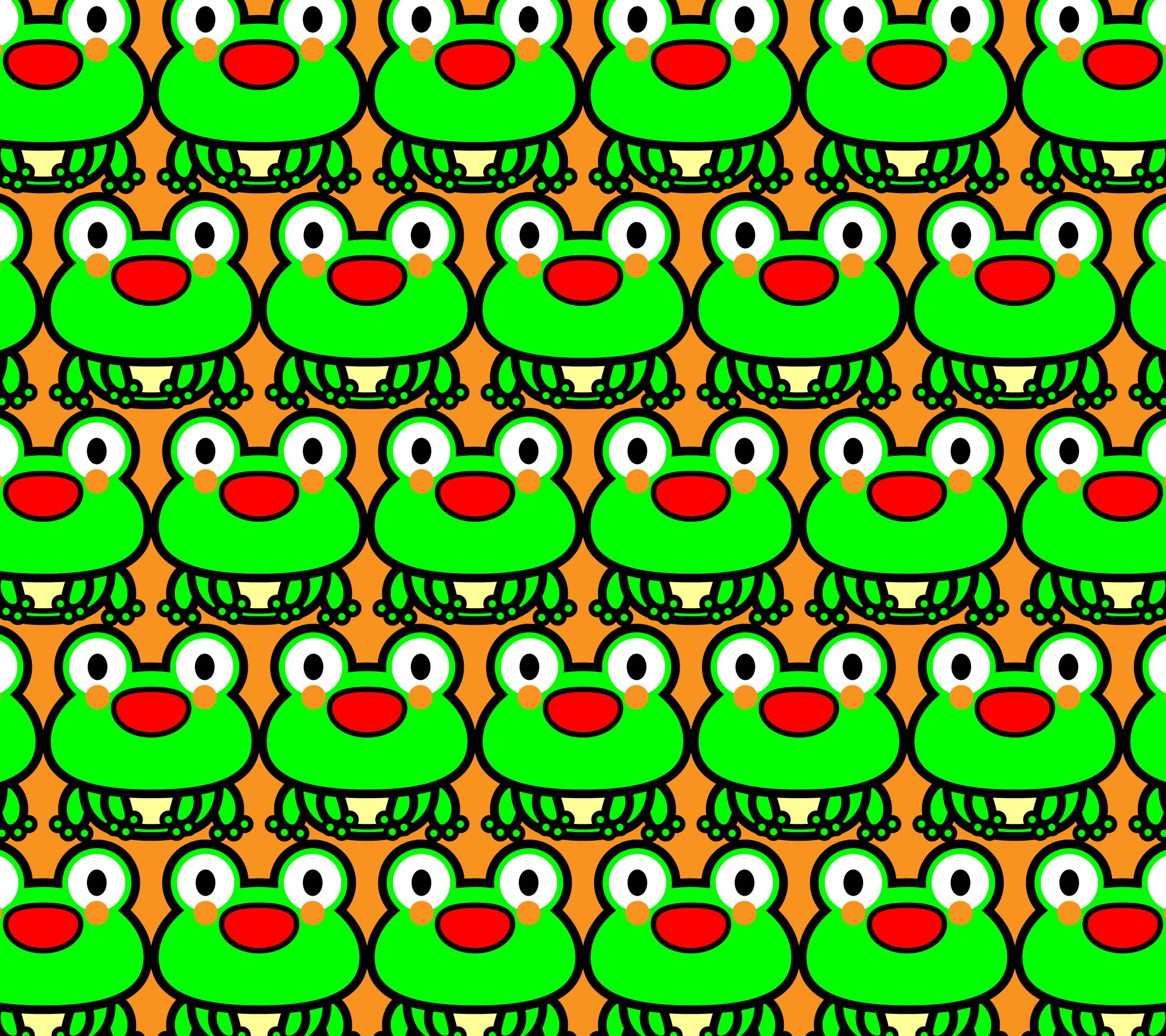 かわいい座りカエルづくし・壁紙(Android)の無料イラスト・商用フリー