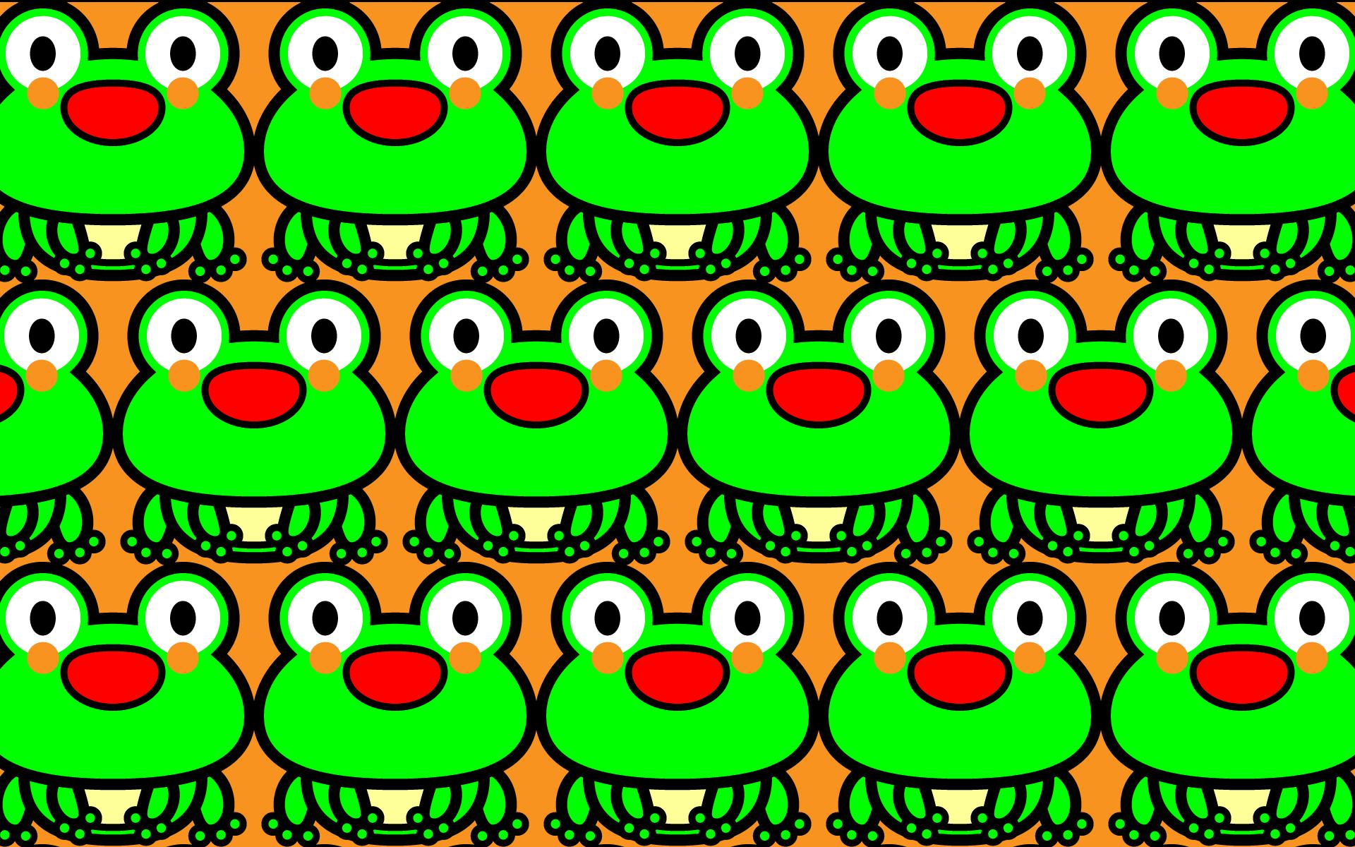 かわいい座りカエルづくし・壁紙(PC)の無料イラスト・商用フリー