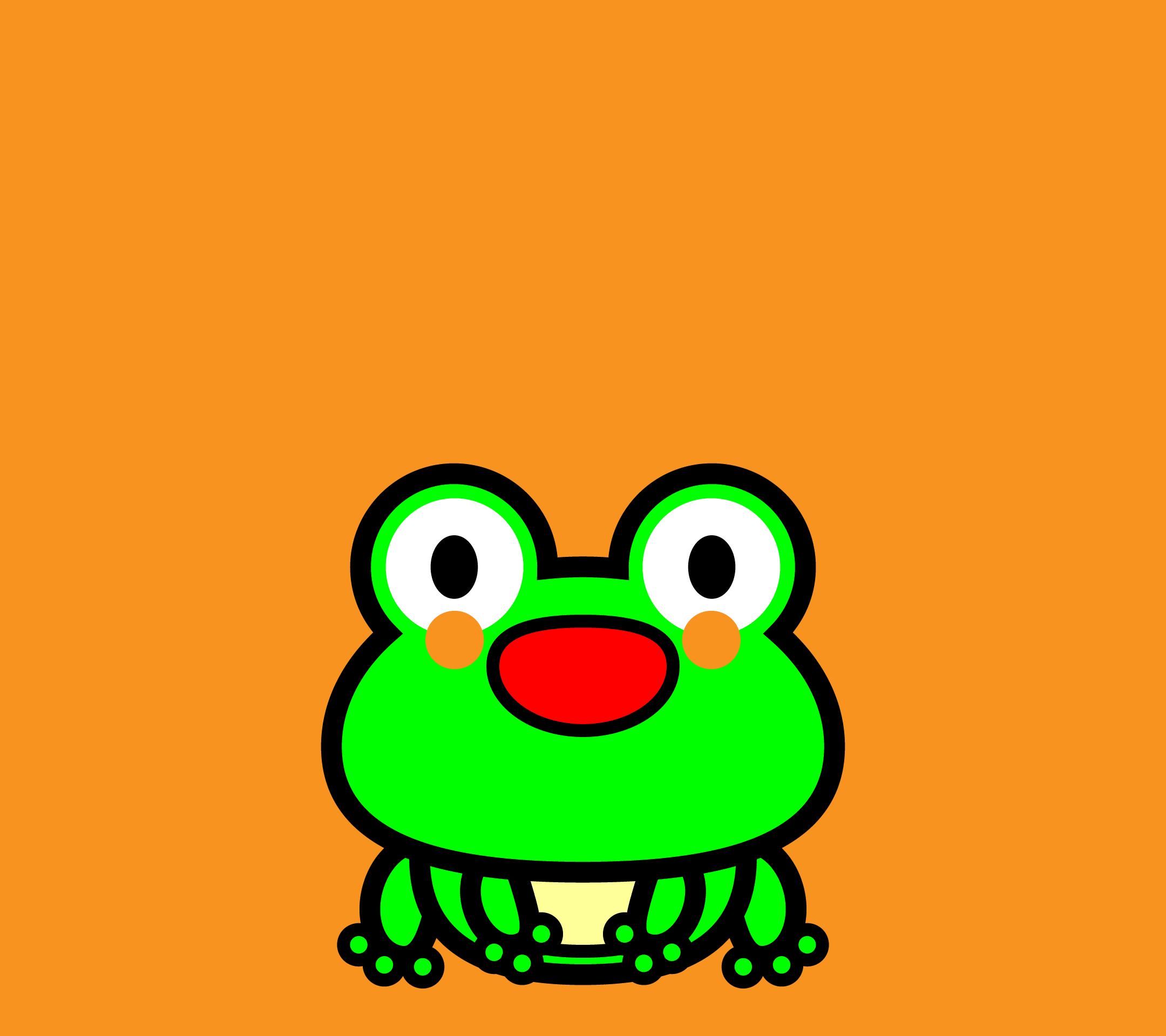 かわいい座りカエル壁紙(Android)の無料イラスト・商用フリー