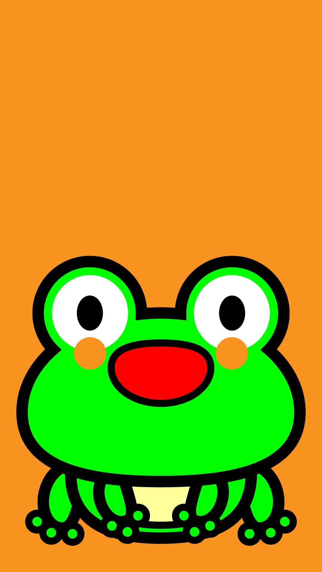 かわいい座りカエル壁紙(iPhone)の無料イラスト・商用フリー