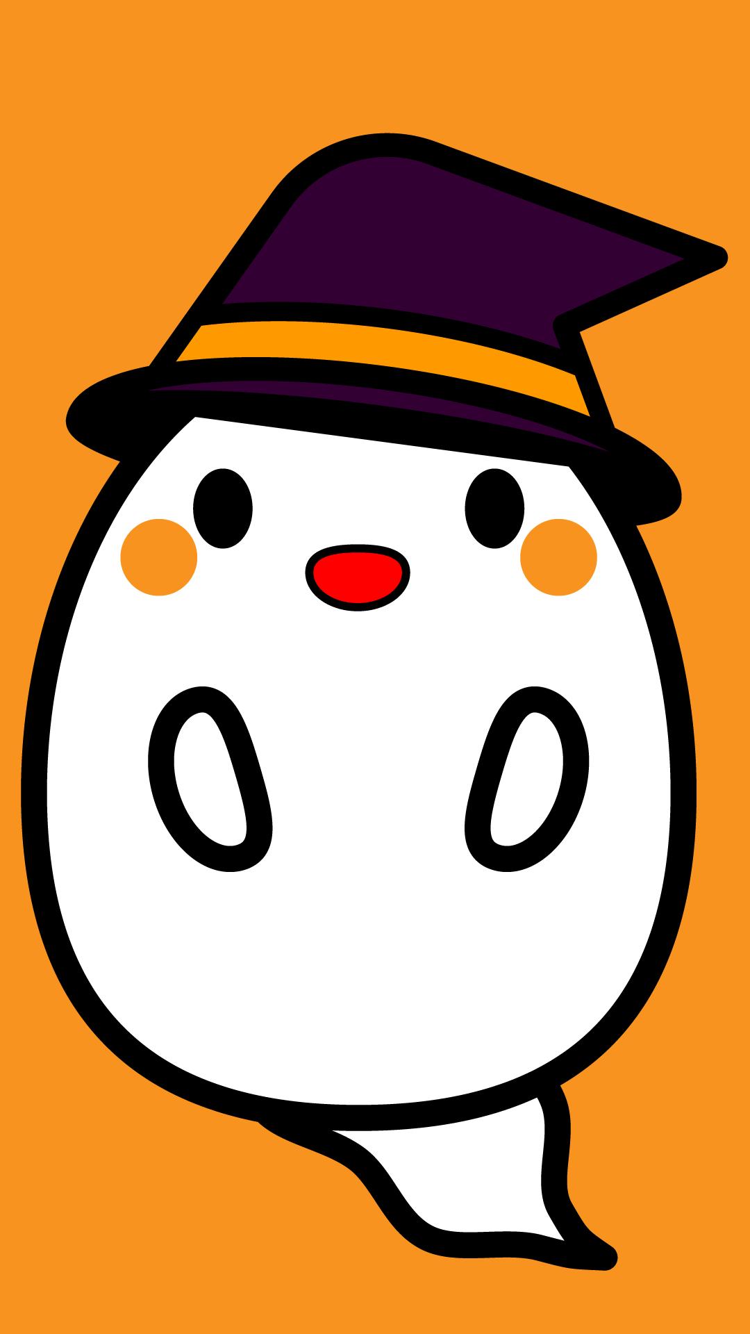 かわいいハロウィンおばけ壁紙(iPhone)の無料イラスト・商用フリー