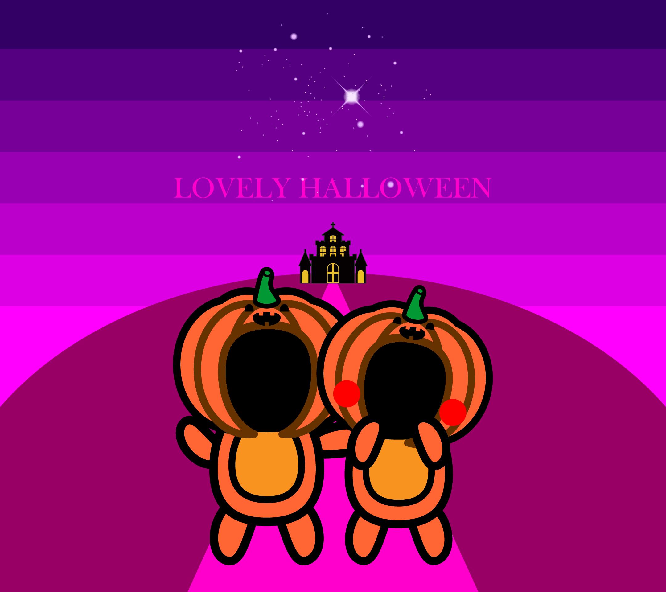 かわいいラブリーハロウィン合成壁紙(Android)の無料イラスト・商用フリー