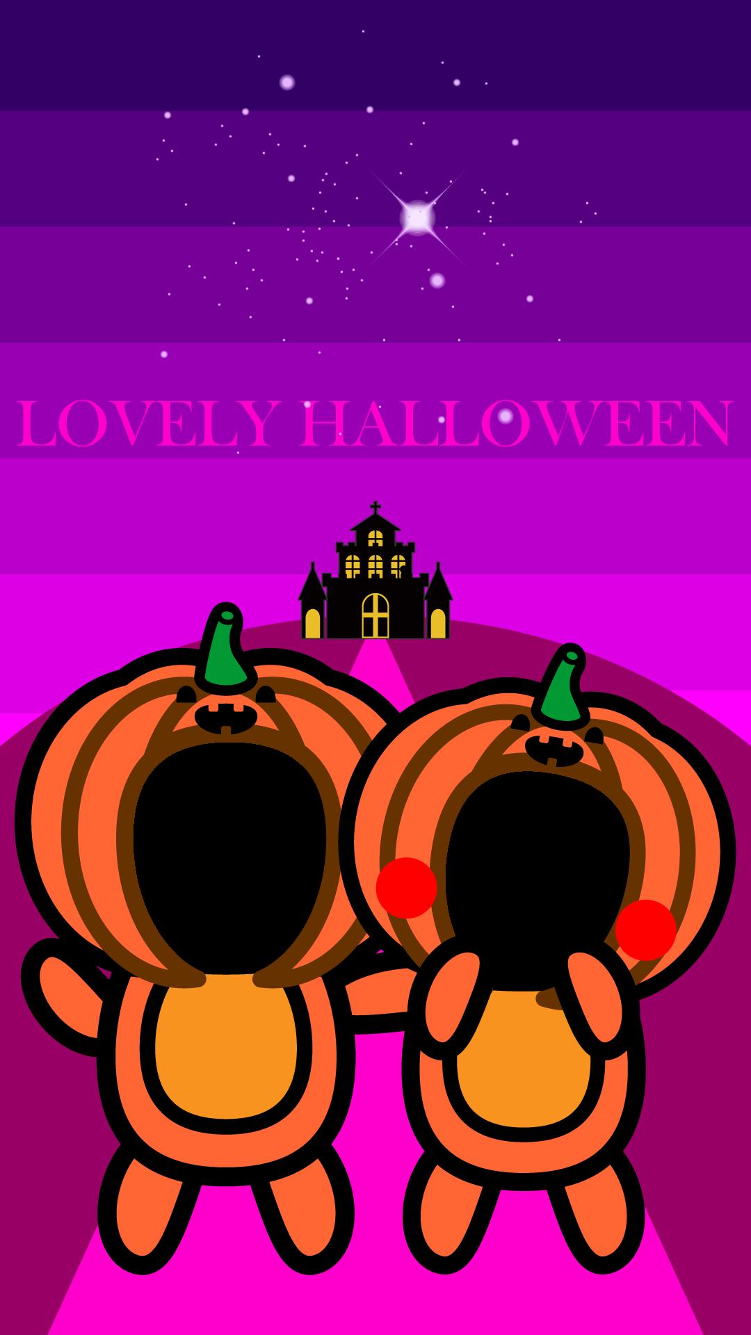 かわいいラブリーハロウィン合成壁紙(iPhone)の無料イラスト・商用フリー