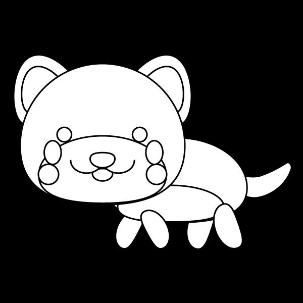塗り絵に最適な白黒でかわいい秋田犬の無料イラスト・商用フリー