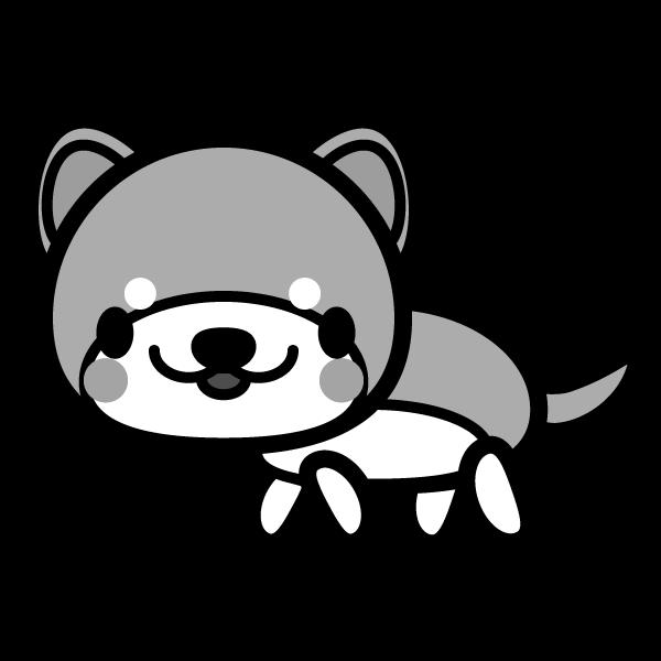 モノクロでかわいい秋田犬の無料イラスト・商用フリー