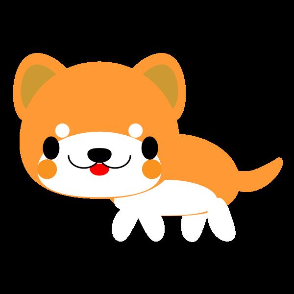 縁無しでかわいい秋田犬の無料イラスト・商用フリー