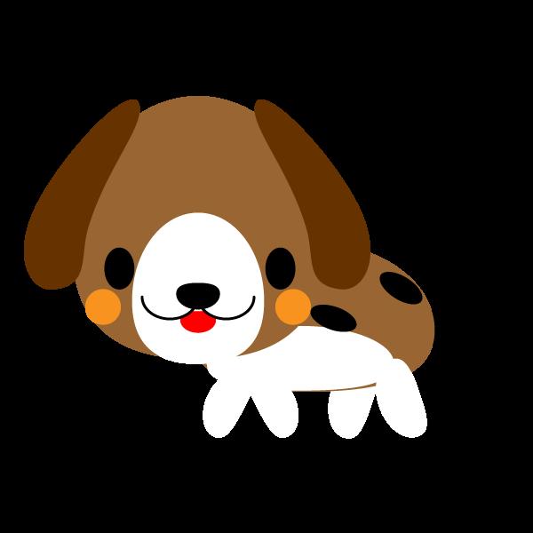 縁無しでかわいいビーグル犬の無料イラスト・商用フリー