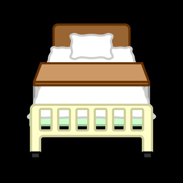 ソフトタッチでかわいい病院ベッドの無料イラスト・商用フリー