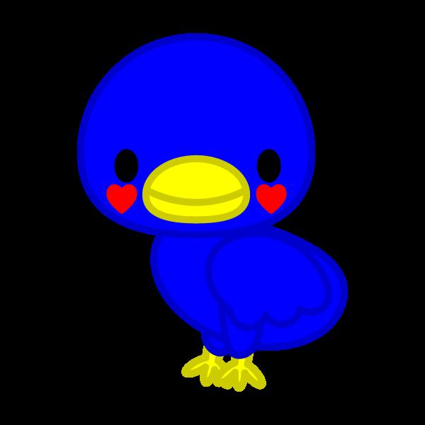 ソフトタッチでかわいい幸運の青い鳥の無料イラスト・商用フリー