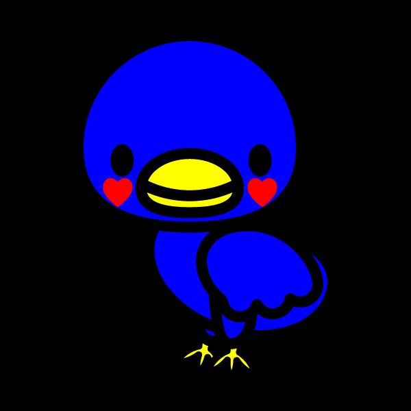かわいい幸運の青い鳥の無料イラスト・商用フリー