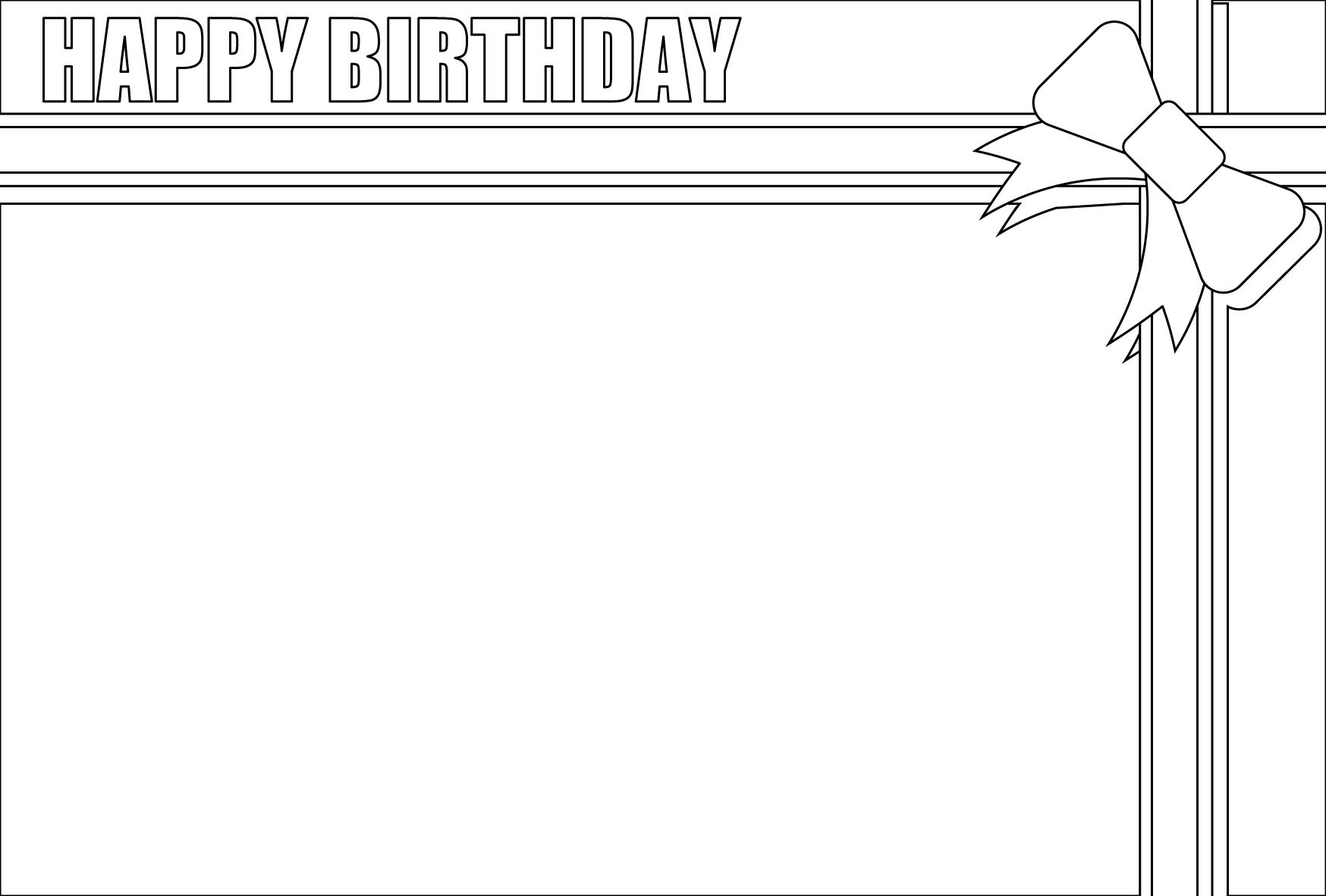 塗り絵に最適な白黒でかわいい誕生日(バースデー)メッセージカードの無料イラスト・商用フリー