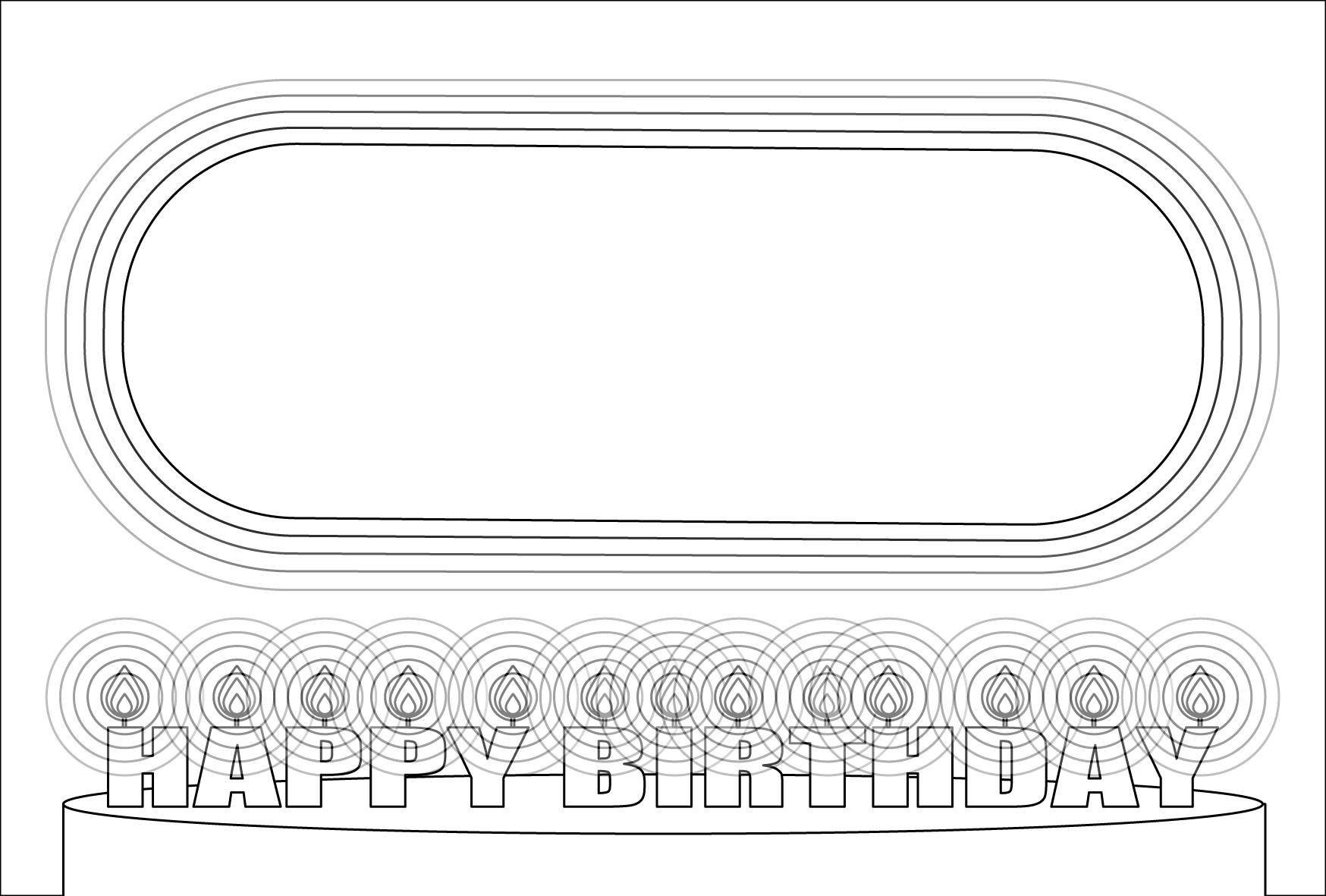 塗り絵に最適な白黒でかわいい誕生日(バースデー)メッセージカード3の無料イラスト・商用フリー