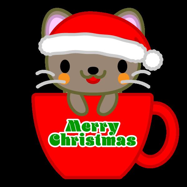 ソフトタッチでかわいいコーヒーカップ猫(クリスマスVer)の無料イラスト・商用フリー