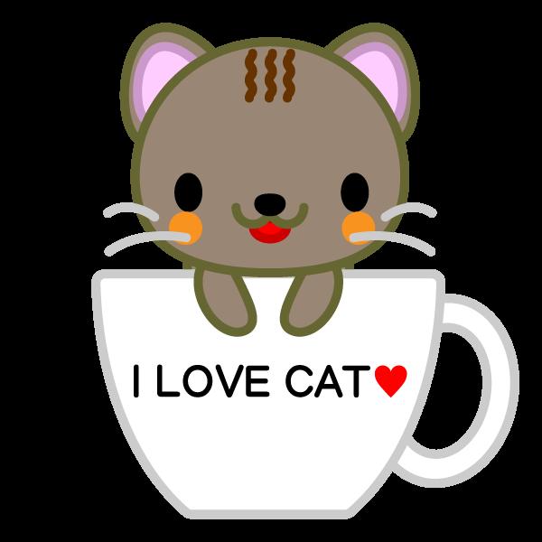 ソフトタッチでかわいいコーヒーカップ猫の無料イラスト・商用フリー