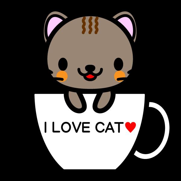 かわいいコーヒーカップ猫の無料イラスト・商用フリー